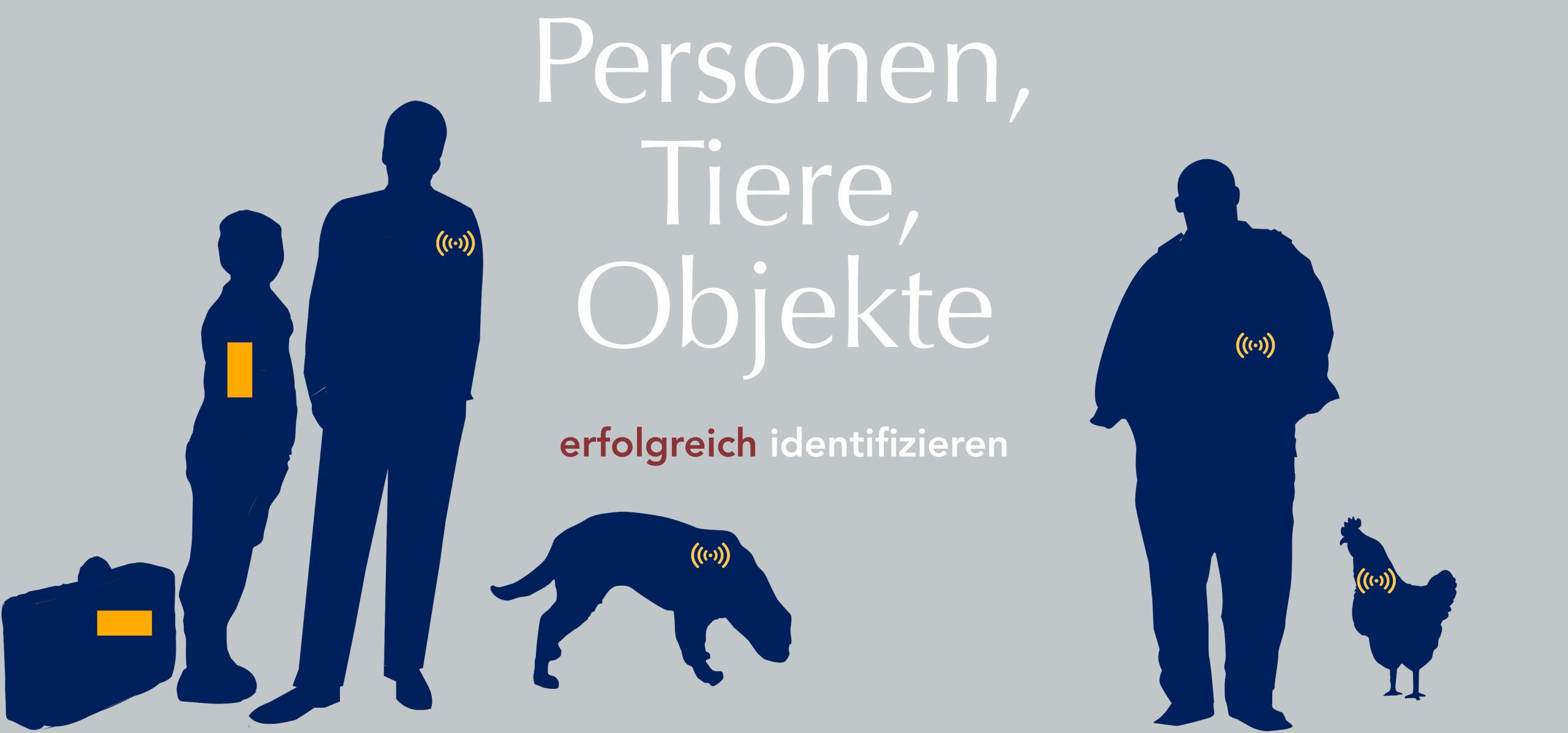 RFID Transponder, Chipkarten, Barcodes um Personen, Tiere, Objekte erfolgreich zu identifizieren